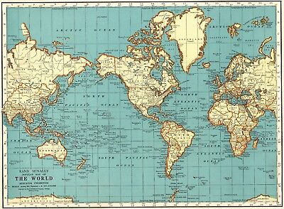 1943 VINTAGE WORLD Map of the World Blue Gallery Wall Art Gift for