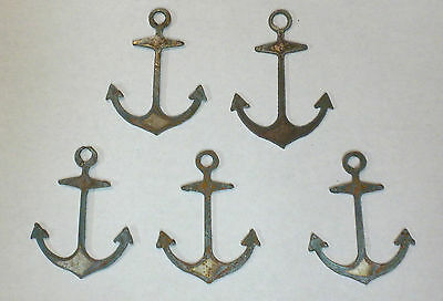Lot of 5 Anchors 3 Inch Rough Rusty Metal Vintage Craft Stencil Ornament Magnet