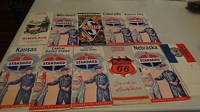 Vintage lot of 11 Gas & Oil Road Maps Standard Sinclair Skelly Phillis 66