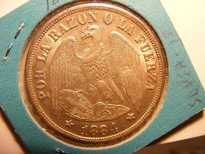 Chile 1884 Large Silver Peso, XF with original luster