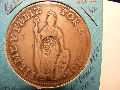 Philippines 1834-37 (ND) 8 Reals (host coin Peru 1835 8 Reals), VF, KM#138.2