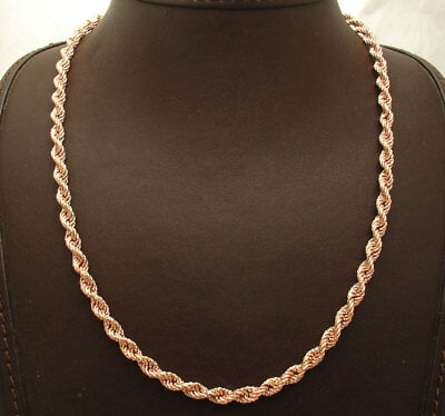 Technibond Diamond Cut Rope Chain Necklace 14K Rose Gold Clad Sterling Silver