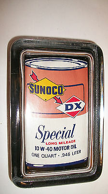 Sunoco DX Gas Station Motor Oil Can  Advertising Sign Logo Glass Paperweight