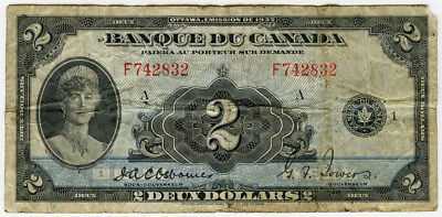 """Canada 1935 Issue """"french Text Series F"""" 2 Dollars Banknote Rare Fine.pick#41."""