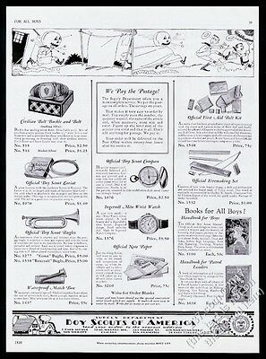 1930 Boy Scouts official Scout bugle compass lariat firemaking set vintage ad