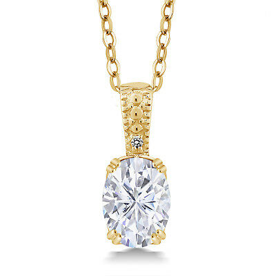 18K Yellow Gold Plated Silver Pendant Forever One Created Moissanite & Diamond