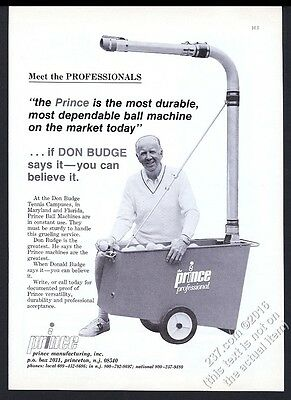 1978 Prince Professional tennis ball machine Don Budge photo vintage print ad