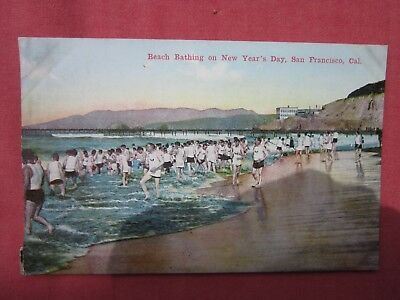 NEW YEAR'S DAY BEACH BATHING,SAN FRANSISCO  vintage coloured postcard c.1910's