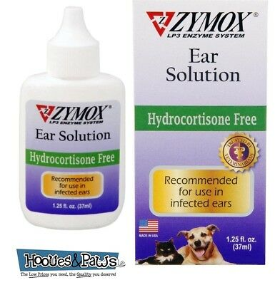 Zymox Otic Ear Treatment Dog Cat Pet Solution Hydrocortisone Free 1.25 oz