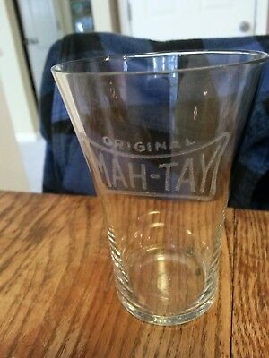 Vintage Etched Original Mah-Tay Advertising Soda Fountain Glass