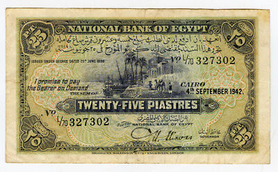 EGYPT 1942 ISSUE 25 PIASTRES SCARCE,CRISP BANKNOTE CHOICE VF-XF.PICK#10c.