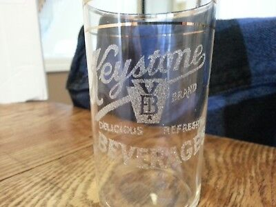 Vintage Etched Original Keystone Beverages Advertising Soda Fountain Glass