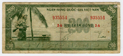 VIETNAM-SOUTH 1955 ISSUE 200 DONG VERY RARE NOTE FINE.PICK#14a.