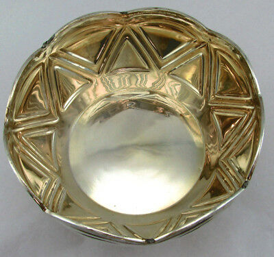 Medium Fruit Bowl With Triangle Pattern Sterling Silver 925 -186 Grams