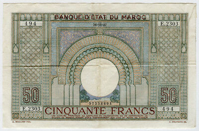 Morocco 1947 Issue 50 Francs Very Crisp Note Vf+Xf.pick#21.