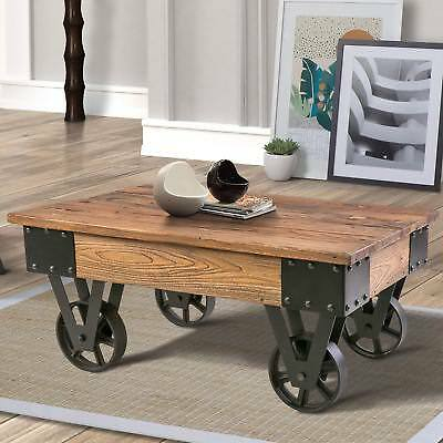 Retro Vintage Solid Wood Coffee Table Tail W Metal