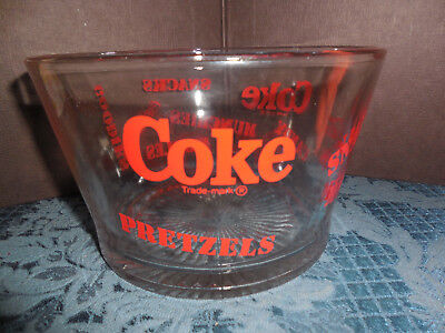 Coca-Cola Heavy Clear Glass Snack Bowl Red Lettering Euc