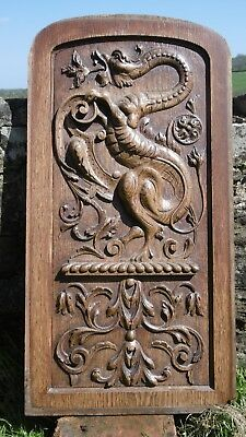 SUPERB 19thc LARGE  GOTHIC RELIEF OAK CARVED PANEL WITH FIRE-BREATHING GARGOYLE