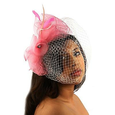 Fancy Feathers Birdcage Bridal Net Headband Fascinator Ribbon Cocktail Hat Pink