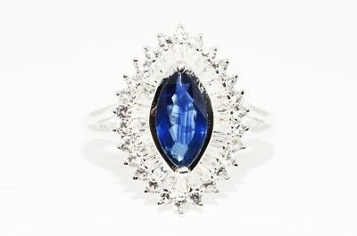 $1,200 2.50Ct Natural Blue Sapphire, Diamond & Topaz Silver Ring Size 7.25