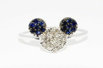 $1,250 .37Ct Natural Blue Sapphire & Diamond Mouse Ring 14K White Gold