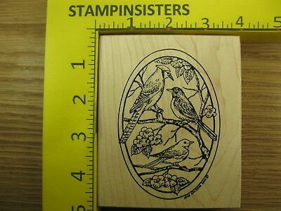 Rubber Stamp Blue Jay Robin Bird Oval Northwoods Flowers Stampinsisters #1326