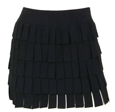 ALAIA Black Stretch Knit Fringed Tiered Mini Skirt 36