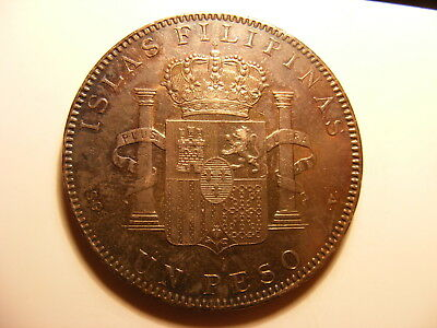 Philippines 1897 Large Silver Peso, KM#154, Nice tone AU Coin