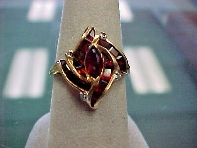 Real 10k Gold & Garnet Ring Cocktail Ring channel set Marquise center stone!