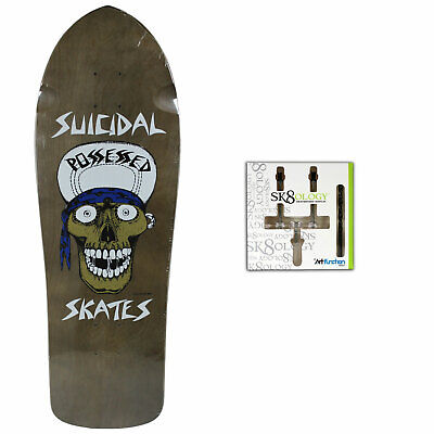 Suicidal - Skull Punk Skateboard Deck - Grey + Sk8ology Wall Mount