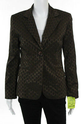 Sharagano Brown Embossed Peek Lapel Blazer Jacket Size 2 $278 NEW