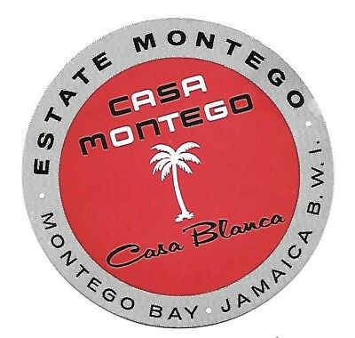 Authentic Vintage Luggage Label ~ CASA MONTEGO ~ Montego Bay, Jamaica, BWI