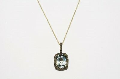 $1,500 5.80Ct Natural Green Amethyst & Cognac Diamond Cluster Necklace 10K