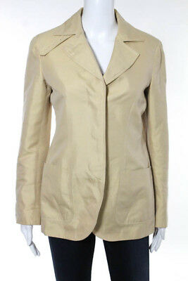 Moschino Beige Cotton Long Sleeve Button Front Notch Lapel Blazer Size 8
