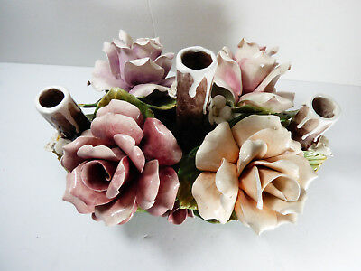 VTG Italian Capodimonte Rose Flower Centerpiece with Three Candle Holders