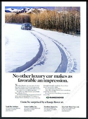 1991 Land Rover Range Rover tracks in deep snow photo vintage print ad