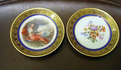"2 Sevres Porcelain 3 5/8"" Hand Painted Butter Pats 1 W/ Woman & Bow 1 W/ Bouquet"
