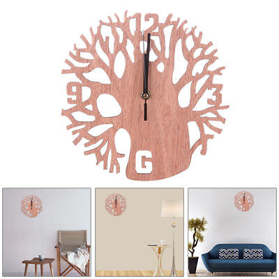 Retro 3D Tree Shape Wooden Wall Clock DIY Wall Watches Room Home Hanging Decor