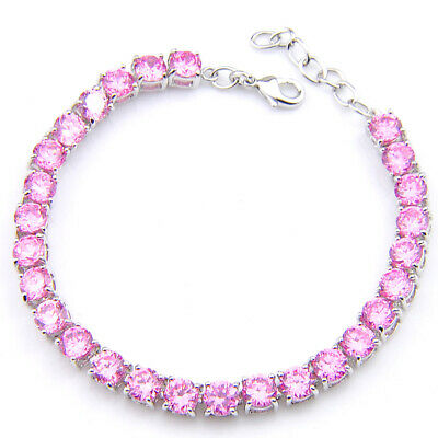 Heart Shaped Genuine Fire Red Garnet Gemstone Silver Charm Bracelet 8 Inch
