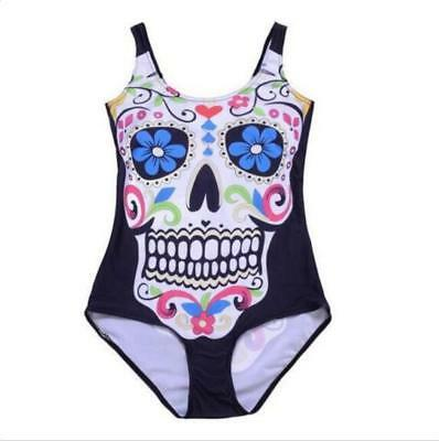 Woman Monokini Swimsuit Skull Floral printed one piece Swimwear S-4XL Bikini