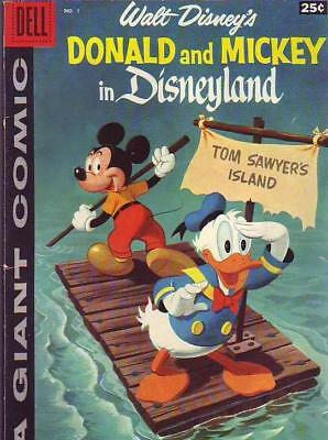 Dell Giant Donald and Micky in Disneyland 1 strict VG+ 1st  Issue Donald and Mi