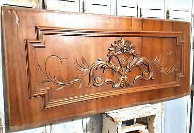 """Carved Wood Panel 43"""" Antique French Scroll Leaf Architectural Salvage Panelling"""