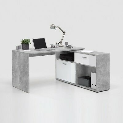 Mattia Corner Computer Desk In White Gloss And Light Atelier