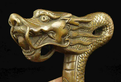 Asian Collectible Handwork Carving Bronze Dragon Statue Walking Stick Head