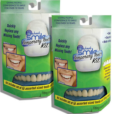 NEW (Set/2) Instant Smile Temporary Tooth Kit w/ 10 Upper Teeth Confident Smile