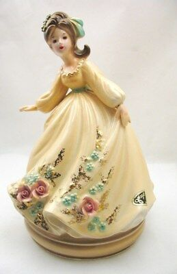 Vintage Josef Originals Girl Figurine Music Box with Foil Sticker