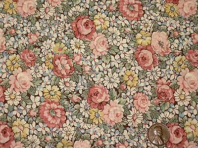 1/2 Yd Vintage Brown Pink Rose Blue Yellow Floral Antique Quilt Folk Doll # 2009