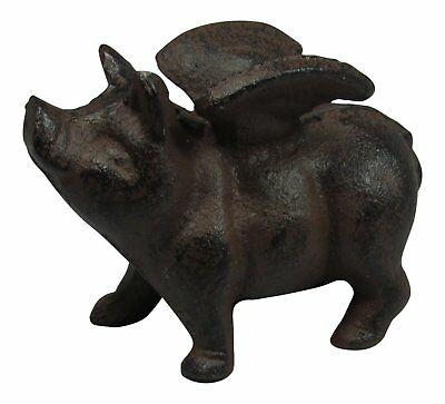Cast Iron Flying Pig Figurine Statue Wings  Home Decor When Pigs Fly Figure New