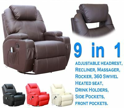 Cinemo Leather Recliner Chair Rocking Massage Swivel Heated Gaming Nursing