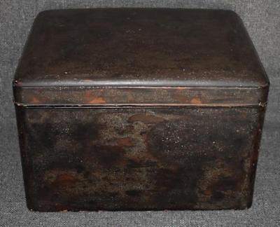 Antique Japanese Lacquer Box With Crushed Abalone Shell Decorative Finish